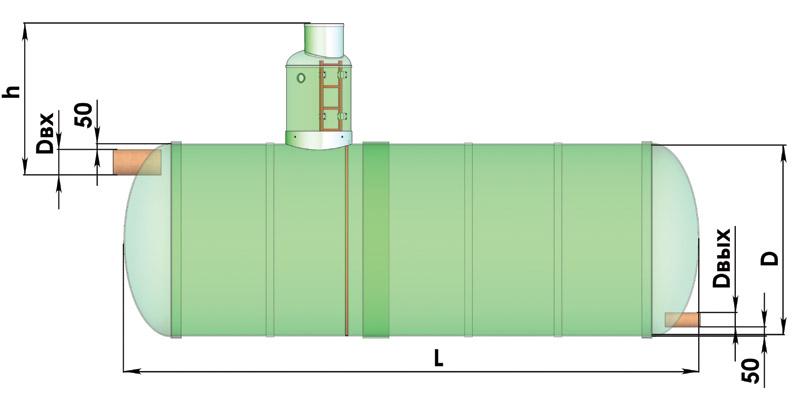 Емкость аккумулирующая V=40 м3, усиленного исполнения